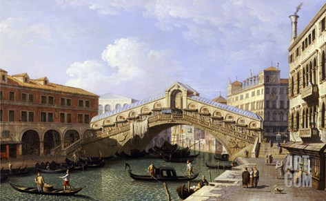The Rialto Bridge Venice from the South with the Fondamenta Del Vin and the Fondaco Dei Tedeschi Stretched Canvas Print