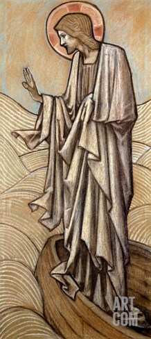 Christ Stilling the Waves: a Design for Stained Glass at Brighouse, Yorkshire, 1896 Stretched Canvas Print