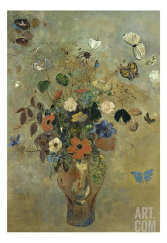 Bouquet of Flowers with Butterflies Stretched Canvas Print