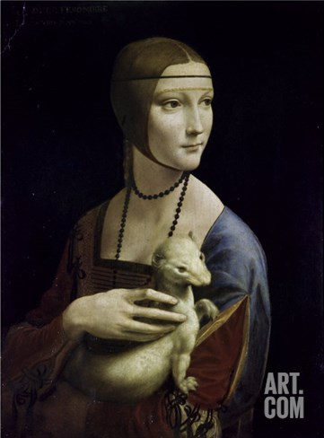 Portrait of Cecilia Gallerani (Lady with an Ermine) Stretched Canvas Print