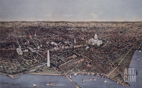 City of Washington (Looking North, 1892) Stretched Canvas Print