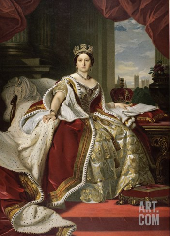 Queen Victoria of England in Her Coronation Robes Stretched Canvas Print