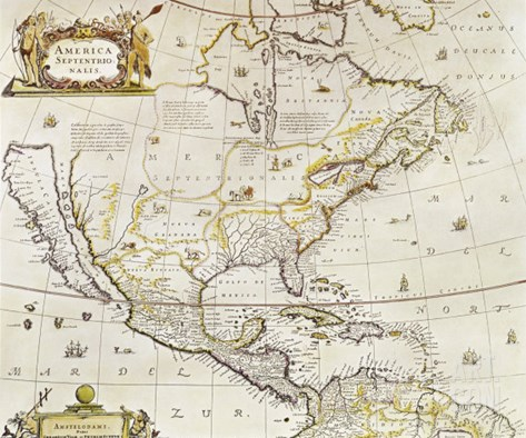 Antique Map Print of North America Stretched Canvas Print