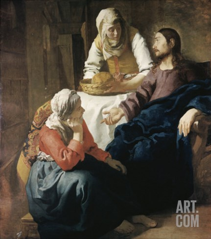 Christ in the House of Martha and Mary Stretched Canvas Print