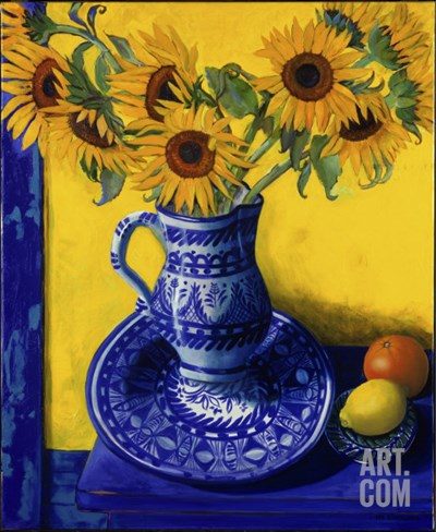 Sunflowers, Lemon, and Orange Stretched Canvas Print