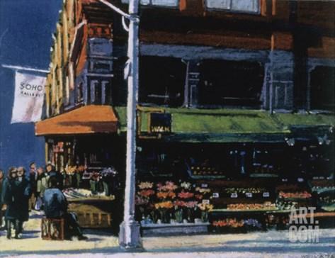 Soho Corner Stretched Canvas Print