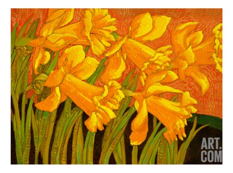 Big Daffodils Stretched Canvas Print