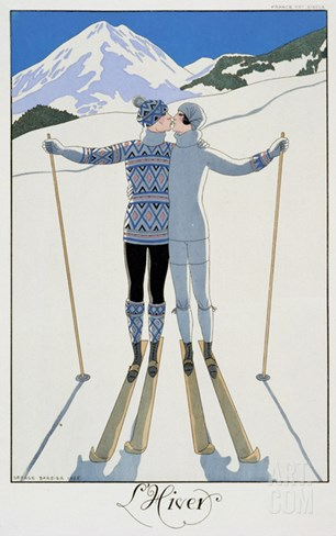 "Winter: Lovers in the Snow, Fashion Plate from ""Twentieth Century France,"" 1925 Stretched Canvas Print"