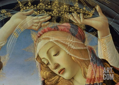 The Madonna of the Magnificat, Detail of the Virgin's Face and Crown, 1482 Stretched Canvas Print