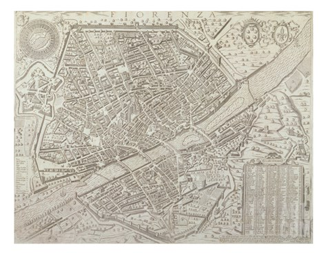 Map of Florence, 1595 Stretched Canvas Print
