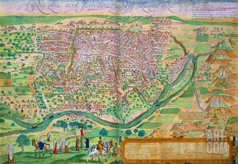 "Map of Cairo, from ""Civitates Orbis Terrarum"" by Georg Braun and Frans Hogenberg, circa 1572 Stretched Canvas Print"
