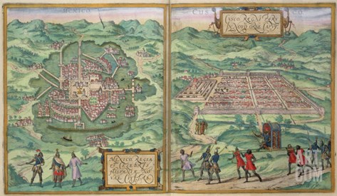 "Map of Mexico and Cuzco, from ""Civitates Orbis Terrarum"" Stretched Canvas Print"