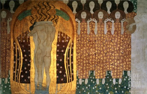 Here's a Kiss to the Whole World!, Detail of the Beethoven Frieze, 1902 Stretched Canvas Print