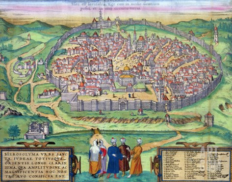 """Map of Jerusalem, from """"Civitates Orbis Terrarum"""" by Georg Braun and Frans Hogenberg, circa 1572 Stretched Canvas Print"""