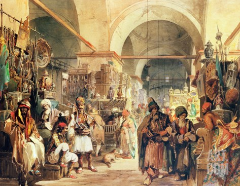 A Turkish Bazaar, 1854 Stretched Canvas Print