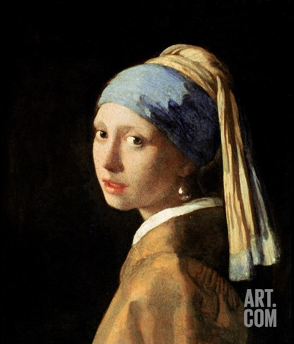 Girl with a Pearl Earring, circa 1665-6 Stretched Canvas Print