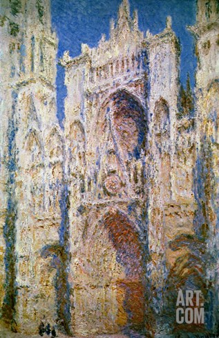 Rouen Cathedral, West Facade, Sunlight, 1894 Stretched Canvas Print