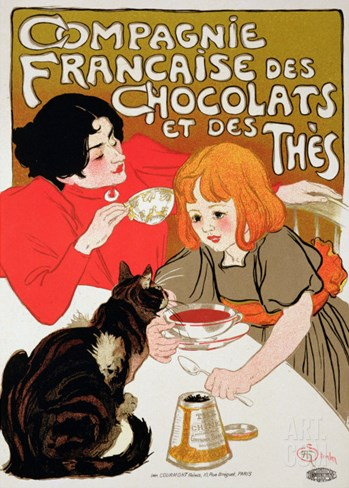 Reproduction of a Poster Advertising the French Company of Chocolate and Tea Stretched Canvas Print
