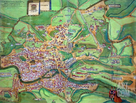 "Map of Rome, from ""Civitates Orbis Terrarum"" by Georg Braun and Frans Hogenberg, 1570 Stretched Canvas Print"
