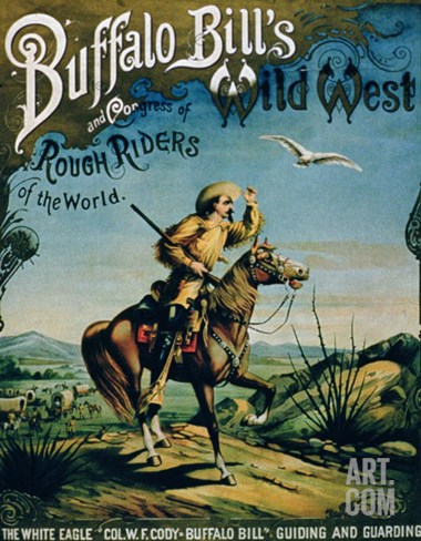 "Advertisement for ""Buffalo Bill's Wild West and Congress of Rough Riders of the World"" Stretched Canvas Print"