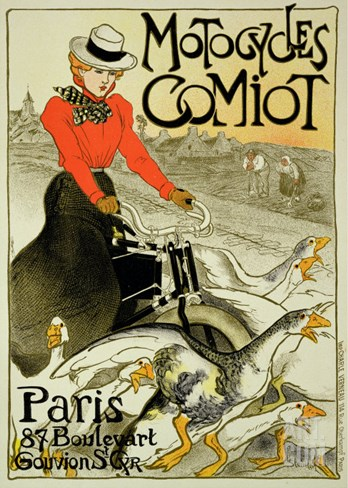 Reproduction of a Poster Advertising Comiot Motorcycles, 1899 Stretched Canvas Print
