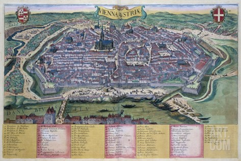 "Map of Vienna, from ""Civitates Orbis Terrarum"" by Georg Braun and Frans Hogenberg circa 1572-1617 Stretched Canvas Print"