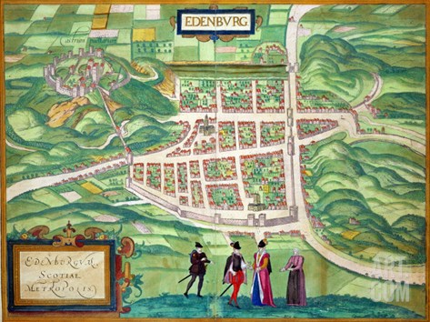 "Edinburgh Map, from ""Civitates Orbis Terrarum"" by Georg Braun and Frans Hogenberg circa 1572-1617 Stretched Canvas Print"
