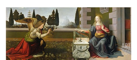 Annunciation, 1472-75 Stretched Canvas Print