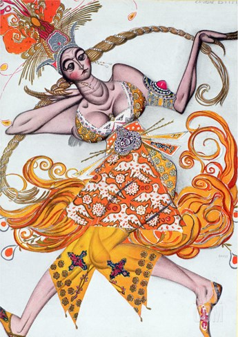 Costume Design for a Pas De Deux Danced at the Opening Gala of the Diaghilev Ballet in 1909 Stretched Canvas Print