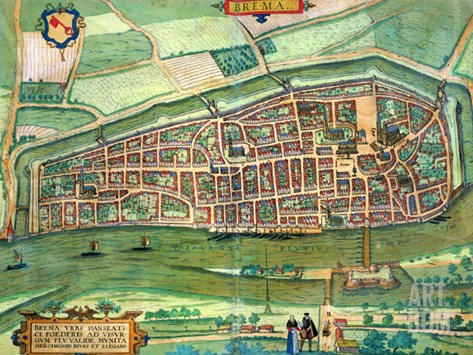 """Map of Bremen, from """"Civitates Orbis Terrarum"""" by Georg Braun and Frans Hogenberg circa 1572-1617 Stretched Canvas Print"""