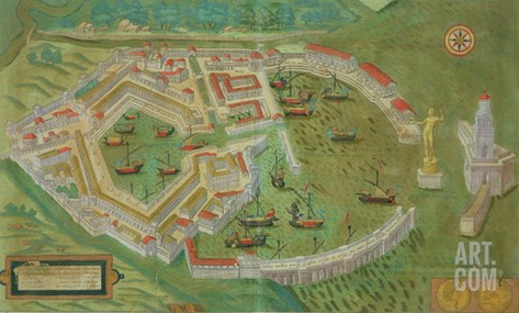 "Map of Ostia, from ""Civitates Orbis Terrarum"" by Georg Braun and Frans Hogenberg circa 1572-1617 Stretched Canvas Print"