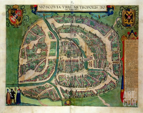 "Map of Moscow, from ""Civitates Orbis Terrarum"" by Georg Braun and Frans Hogenberg circa 1572-1617 Stretched Canvas Print"