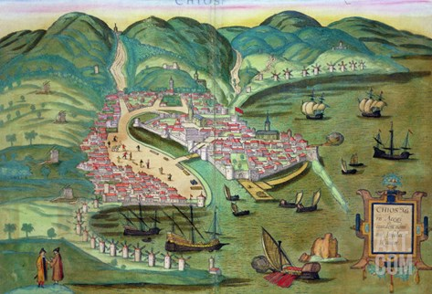 "Map of Chios, from ""Civitates Orbis Terrarum"" by Georg Braun and Frans Hogenberg circa 1572-1617 Stretched Canvas Print"