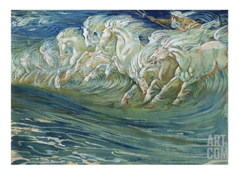 "Neptune's Horses, Illustration for ""The Greek Mythological Legend,"" Published in London, 1910 Stretched Canvas Print"
