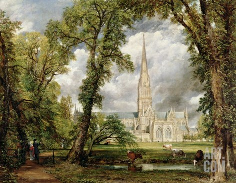 View of Salisbury Cathedral from the Bishop's Grounds, circa 1822 Stretched Canvas Print