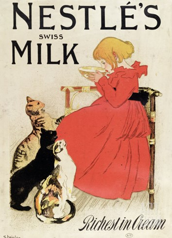 Poster Advertising Nestle's Swiss Milk, Late 19th Century Stretched Canvas Print