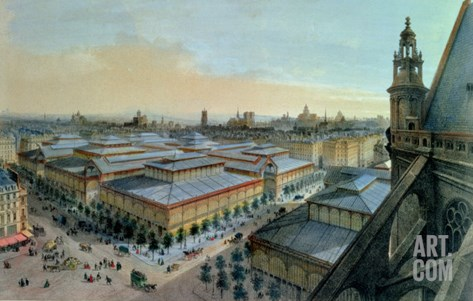 View of Les Halles in Paris Taken from Saint Eustache Upper Gallery, circa 1870-80 Stretched Canvas Print