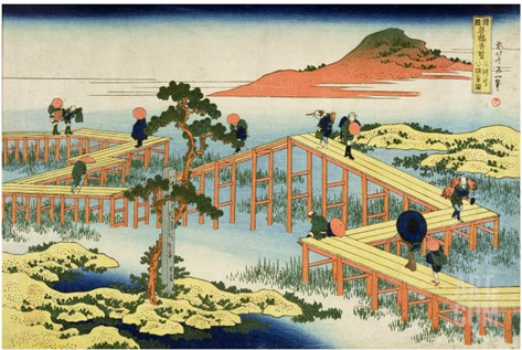 Eight Part Bridge, Province of Mucawa, Japan, circa 1830 Stretched Canvas Print