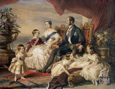 Queen Victoria and Prince Albert with Five of the Their Children, 1846 Stretched Canvas Print