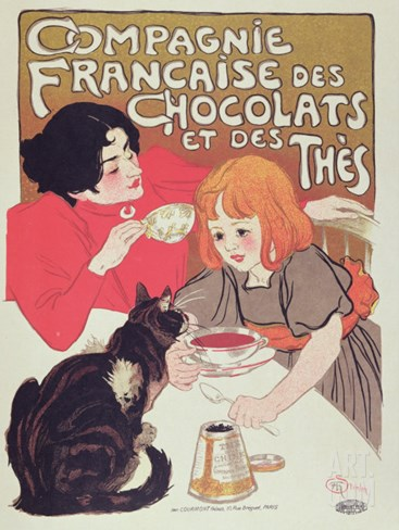 Poster Advertising the Compagnie Francaise Des Chocolats Et Des Thes, circa 1898 Stretched Canvas Print