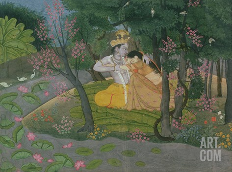 Krishna and Radha Embracing in a Grove, Kangra, Himachal Pradesh, Pahari School, circa 1785 Stretched Canvas Print