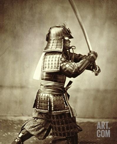 Samurai with Raised Sword, circa 1860 Stretched Canvas Print