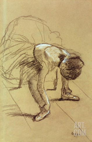 Seated Dancer Adjusting Her Shoes, circa 1890 Stretched Canvas Print