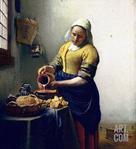 The Milkmaid, circa 1658-60 Stretched Canvas Print