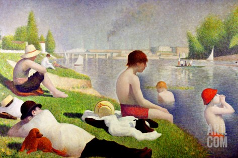 Bathers at Asnieres, 1884 Stretched Canvas Print