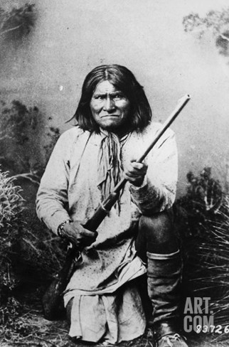 Geronimo Holding a Rifle, 1884 Stretched Canvas Print