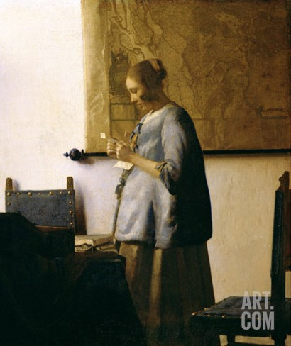 Woman Reading a Letter, circa 1662-63 Stretched Canvas Print