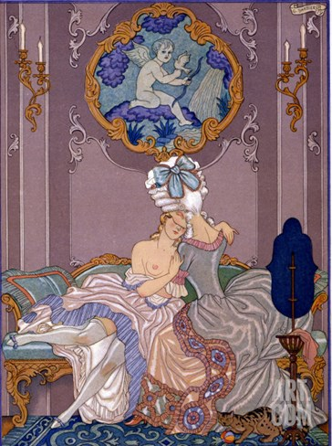 "Bedroom Scene from ""Les Liaisons Dangereuses"" by Pierre Choderlos De Laclos Published 1920s Stretched Canvas Print"