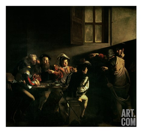 The Calling of St. Matthew, circa 1598-1601 Stretched Canvas Print
