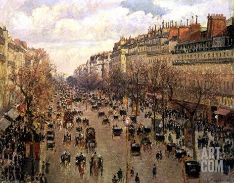 Boulevard Montmartre, Afternoon Sun, 1897 Stretched Canvas Print